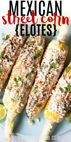 TASTY Mexican Street Corn (ELOTES) Mexican Street Corn, or Elotes. This grilled corn recipe is coated with a cooling lime Crema, spiced with some Chile powder, and topped with crumbled Cotija and diced cilantro. The perfect summer BBQ side dish! Corn Recipes, Side Dish Recipes, Mexican Food Recipes, Vegetarian Recipes, Cooking Recipes, Bbq Recipes Sides, Carnitas, Barbacoa, Mexican Side Dishes