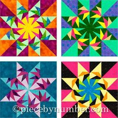 (7) Name: 'Quilting : Falcon's Star Paper Pieced Block