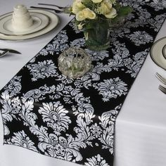 Black and White Satin Damask Table Runner by floratouch on Etsy, $12.00