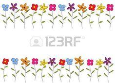 flower border: Colorful cartoon flowers border. Vector background Illustration