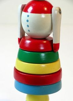 BRIO Thisvintage Brio wooden stack toy is in nice condition but not perfect. There are 9 stacking pieces, all very bright and clean. Stacking Toys, Brio, Stamp Making, Sweden, Ms, Rabbit, Bunny, Nice, Wood