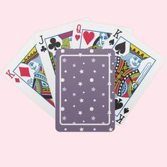 Purple Stars Bicycle Playing Cards