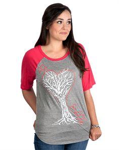 Why Heart Boxy Raglan - Christian Womens Fashiontops for $29.99 | C28.com