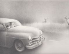 """Peter McCarty - original illustration from the book """"Night Driving"""" by John Coy. Pencil on paper. From our collection."""