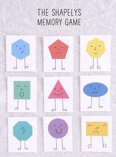 THE SHAPELYS MEMORY GAME free printable shape sheet and polka dot back also