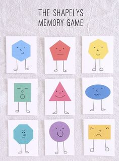 THE SHAPELYS MEMORY GAME free printable shape sheet and polka dot back also