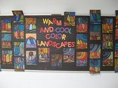 """Got this idea from an art blog site """"Teach Kids Art"""" - it's perfect for teaching and assessing warm and cool colors!"""