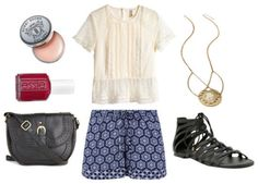Boho vibe. Lacey blouse, printed shorts and lace-up sandals, crossbody bag, necklace