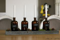 Gin bottles as Christmas candle holders. Christmas And New Year, Christmas Time, Christmas Candle Holders, Gin Bottles, Black Forest, Upcycle, Diys, Diy Projects, Candles