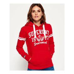Superdry women's Sportswear hoodie.  A classic over the head hoodie featuring a cracked Superdry Sportswear print and two cracked print stripes on the sleeve. …