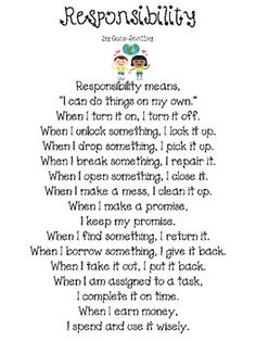 Writing FREEBIE--Student Responsibility- Not only would I post it on the wall, I would have many, many discussions about this one.