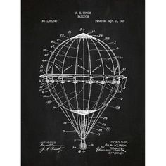 Inked and Screened Vintage Inventions 'Hot Air Balloon' Silk Screen Print Graphic Art in Chalkboard/White Ink