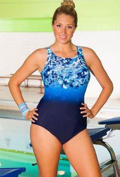 2db8220a20 Aquabelle Aqua-holic Plus Size High Neck Swimsuit Plus Size Swimwear – Blue  – Size