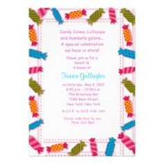 Candyland Candy Theme Sweet 16 Invitation Sweet 16 invitations