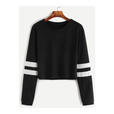 SheIn(sheinside) Black Varsity Striped Sleeve Crop T-shirt ($12) ❤ liked on Polyvore featuring tops, t-shirts, black, long sleeve tees, round neck t shirts, striped crop top, striped tee and long sleeve t shirts