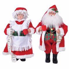Christmas Santa Claus Decorations 15.5'' 2 Piece Mr and Mrs Claus Figurine Set   #Santasshop