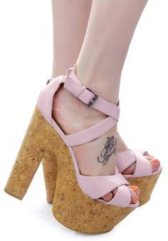 #clabel baby pink strappy open toe #cork heel #wedge shoe