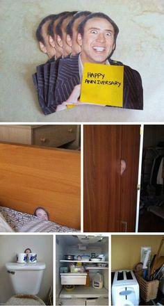 Nicolas cage prank. Need to do this to my roomie