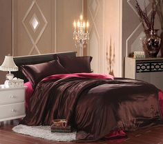 Two Tone Dark Coffee And Wine Luxury Bedding Silk Bedding, Queen Size Flat Sheets, Bed Sheets, Bed Parts, Silk Bedding, Cozy Bed, Queen Size, Luxury Bedding, Duvet Cover Sets, Bedroom