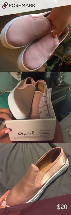 Qupid pink satin shoe size 8 Never worn! Comes with box. Qupid pink satin shoe size 8 Qupid Shoes