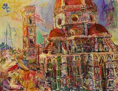 The Florence Cathedral, Kokoschka (1948). More of Kokoshka's work here http://www.salvatorefiorillo.it/kokoschka.html