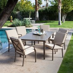 Outdoor Coral Coast Bellagio Cushioned Aluminum Patio Dining Set - Seats 6 - TTLC438