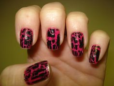 pink base and black crackle. EASY!