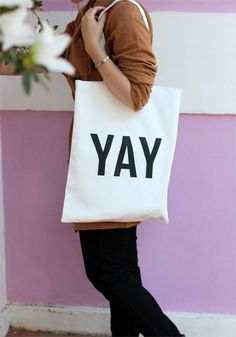 YAY lined cotton tote bag by ZanaProducts on Etsy
