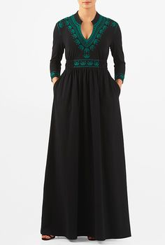 Sway about in our boho-inspired maxi dress, spun from cotton knit with graphic floral embellishment around the mandarin collar, low V-neck, cuffs and empire waist. Abaya Fashion, Fashion Outfits, Ethnic Fashion, Womens Fashion, Day Dresses, Casual Dresses, Cotton Gowns, Womens Maxi Skirts, Dress Sketches