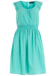 Turquoise polka dot sundress... Dorothy Perkins site has some of the nicest clothes