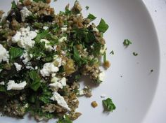 bulgur salad with feta, eggplant and loads of fresh mint