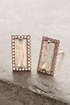 14k Gold Opal Earrings with Diamond Bezel