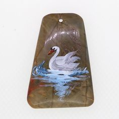 HAND PAINTED SWAN PENDANT GEMSTONE JEWELRY ACCESSORY ZL806657 #ZL #Pendant