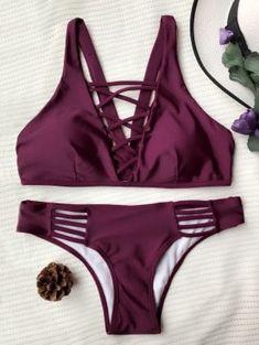 70325c55f Crisscross Strap Padded Bikini Set - Burgundy S Sexy Bikini