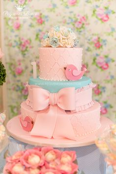 I love this Little Bird CAKE found via Kara's Party Ideas | KarasPartyIdeas.com #little #birds #pink #blue #party #ideas #supplies #cake