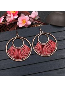 Creative circle hand-woven exaggerated earrings - holapick.com Diy Crafts For Teen Girls, Crafts For Teens To Make, Creative Circle, Fall Gifts, Vintage Frames, Earrings Handmade, Hand Weaving, Jewelery, Fashion Jewelry