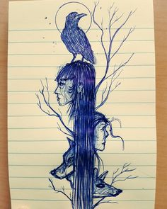 Did this sketch at work today. Worked on it through out the day, a few minutes at a time.  #pensketch #inkart #penandpaper #inkandpaper #inkwork #biro #sketch #bird #crow #faces #wolf #deer #moon #art #winnipeg #winnipegartist #winnipegart #sketchyreputation