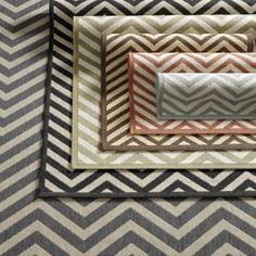 Chevron Stripe Indoor/Outdoor Rug | European-Inspired Home Furnishings | Ballard Designs $49 for the mineral runner