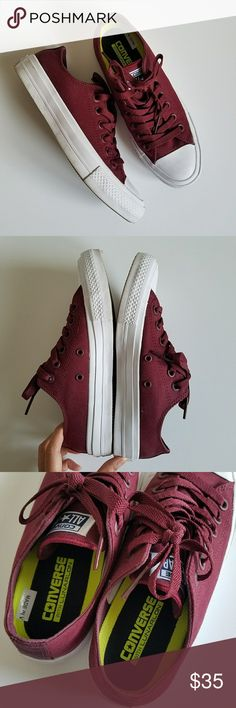 Chuck Taylor II Unisex Converse Sneakers Gently used condition, only worn once or twice but the bottoms aren't perfectly clean anymore. Exterior is a deep maroon color. Includes the box. Women's 6.5, Mens 4.5 Converse Shoes Sneakers