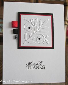 Our Little Inspirations: A CAS Thank You    Great way to use up ribbon bits n pieces