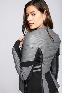 FEATURES & BENEFITS This iconic moto silhouette is a must-have ultra-luxe leather jacket. Knit Insets for Range of Motion Mesh Ventilation Panels Thumbholes CB Length Model is wearing size Small Asian Fashion, Look Fashion, Fashion Outfits, Womens Fashion, Fashion Design, Fashion Weeks, Paris Fashion, Future Fashion, Overall