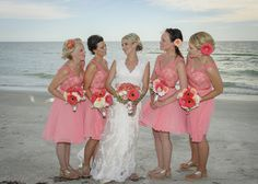 Darcy & Brian | Weddings in Tampa Bay | Bright Coral Pink and White bouquet of Gerbera Daisies, Dahlias, and Spray Roses. #andrealaynefloraldesign  #tampaweddings