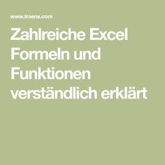 Zahlreiche Excel Formeln und Funktionen verständlich erklärt