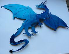 Transparent blue european dragon.  Shop now at iron-artz.com!