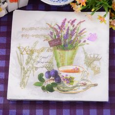 33*33センチ20ピース/パックラベンダー花紙ナプキンパーティー100%バージン木材紙ナプキン用パーティーディナー装飾
