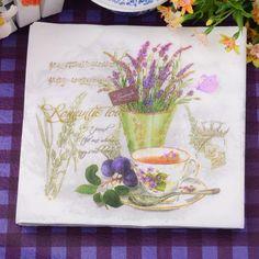 33*33 cm 20 Pz/pacco Lavanda Fiore di Carta Partito Tovagliolo 100% Del Virgin Legno Carta Tovagliolo per il partito cena decorazione