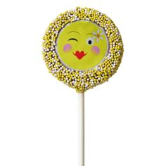A fun design with cute smiley faces in the style of trendy emoji displaying happy and funny emotions on yellow faces with party balloons. Fabulous party cookies pops suitable for any age and any gender; popular with young adults and teenagers.