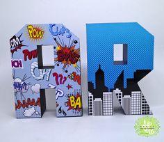 Letras 3D Super Herois | Marion Lembranças Personalizadas | Elo7