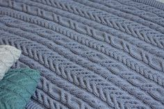 Lilac cable throw blanket hand knitted blanket READY TO SHIP