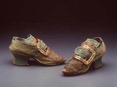 Buckle shoes, pair, women's, appliqued silk / leather / linen and buckles, pair, metal, maker unknown, England, 1740-1749 / c. 1777. This pair of women's appliqued silk buckle shoes was made in England between 1740-1749. The buckles are not contemporary with the shoes.         - Powerhouse Museum Collection